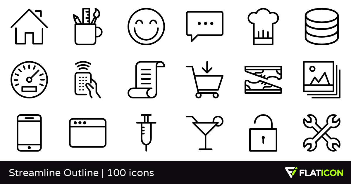 Streamline Outline 100 free icons (SVG, EPS, PSD, PNG files).