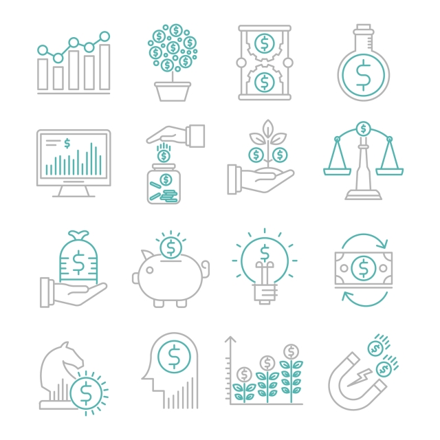 Investment Vector Outline Icons Set, Attracting Investments.