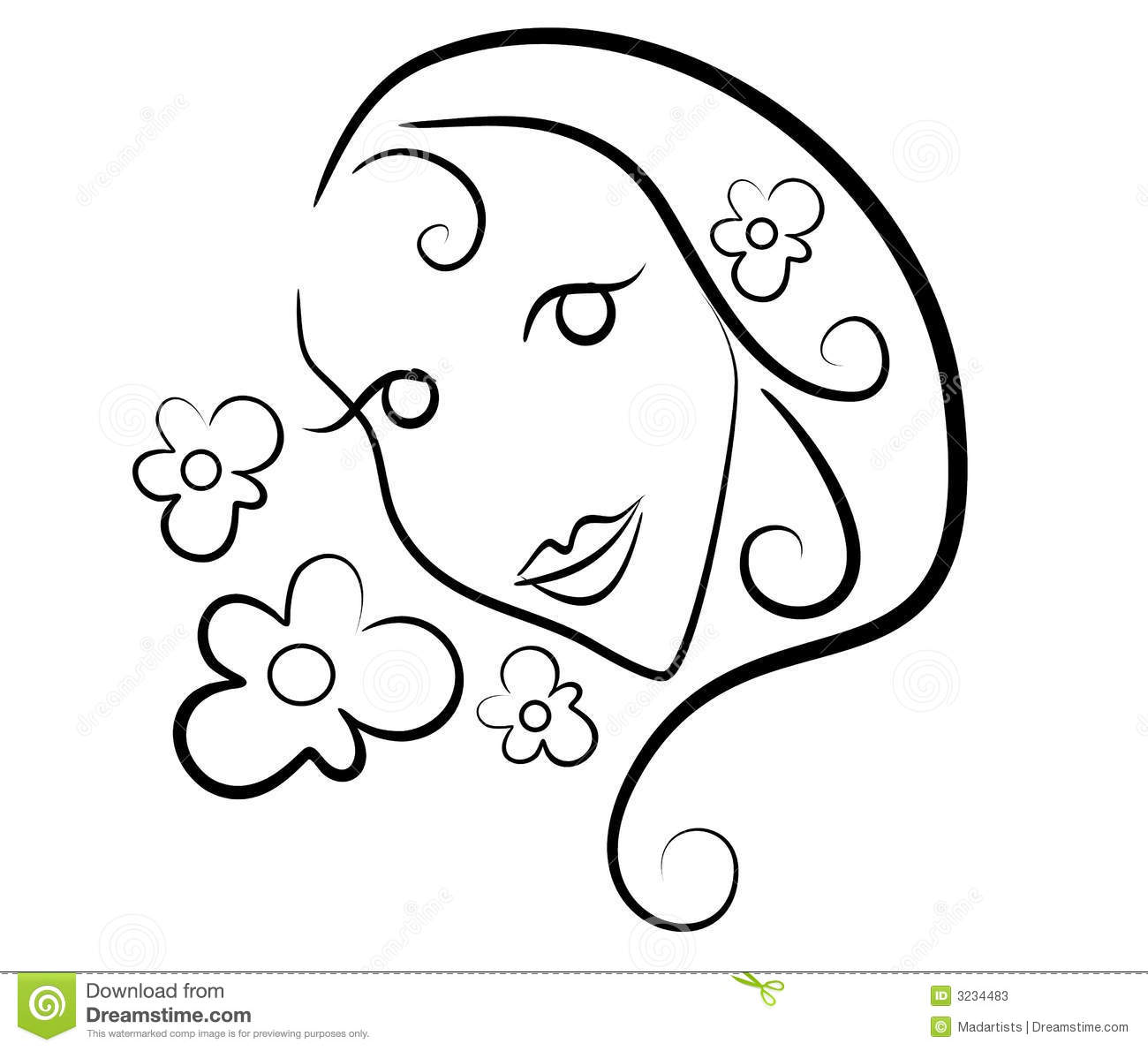 Woman Flowers Clip Art Outline Stock Photos.