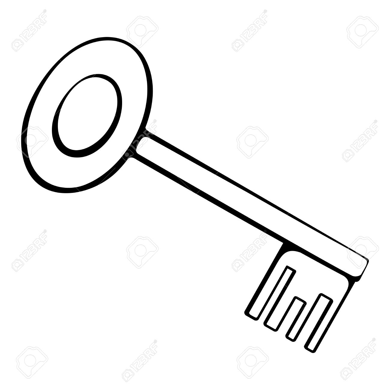 Black And White Outline Of The Key Royalty Free Cliparts, Vectors.