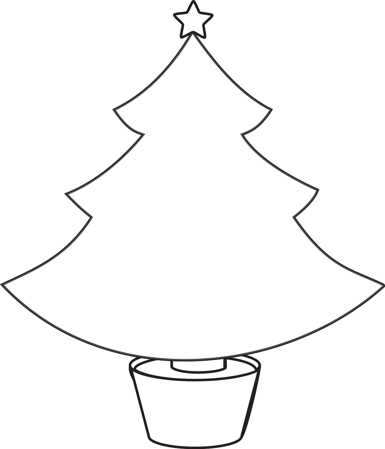 Christmas Tree Clip Art Outline.