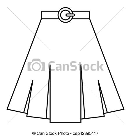 Vector Clip Art of Skirt icon, outline style.