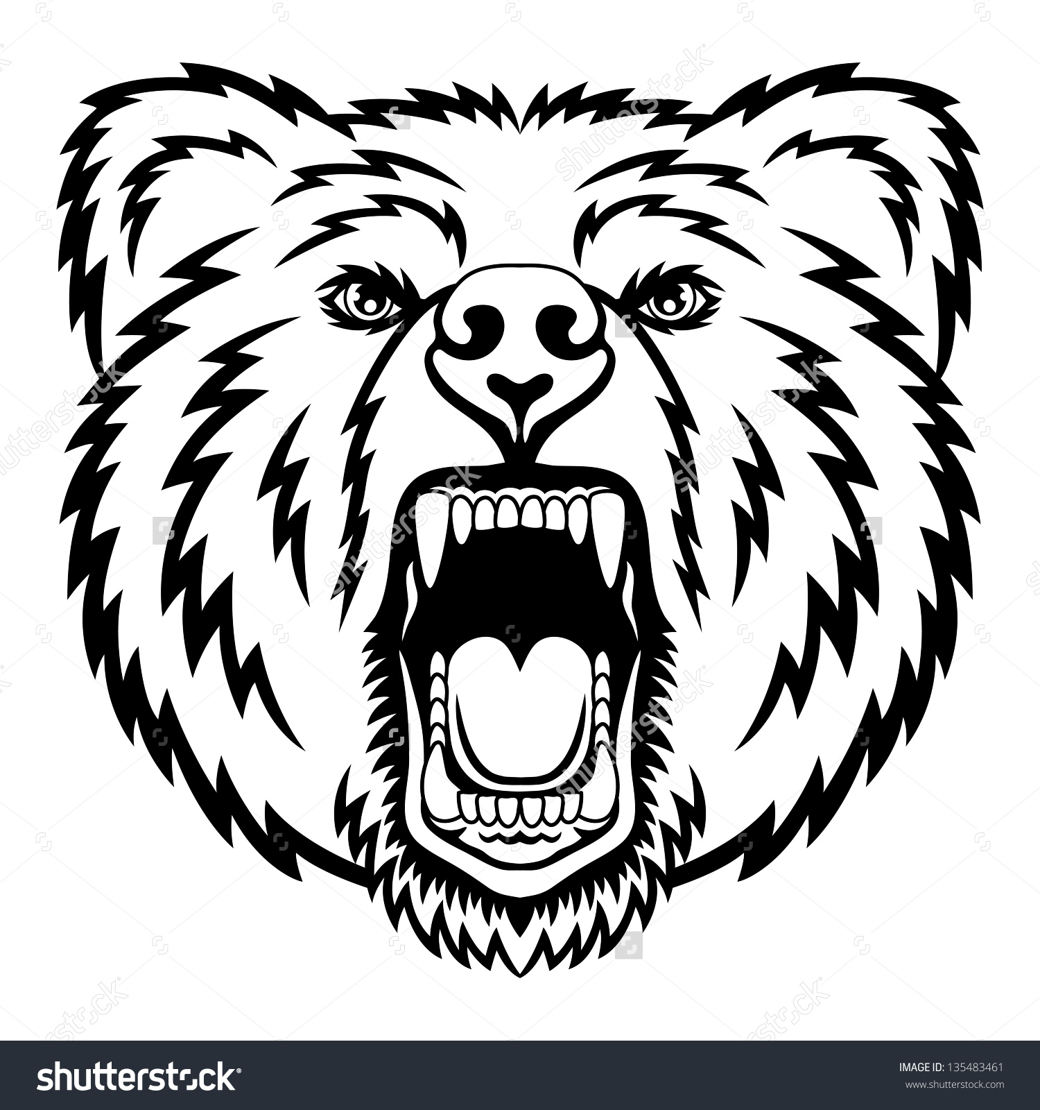 Bear Head Logo This Vector Illustration Stock Vector 135483461.
