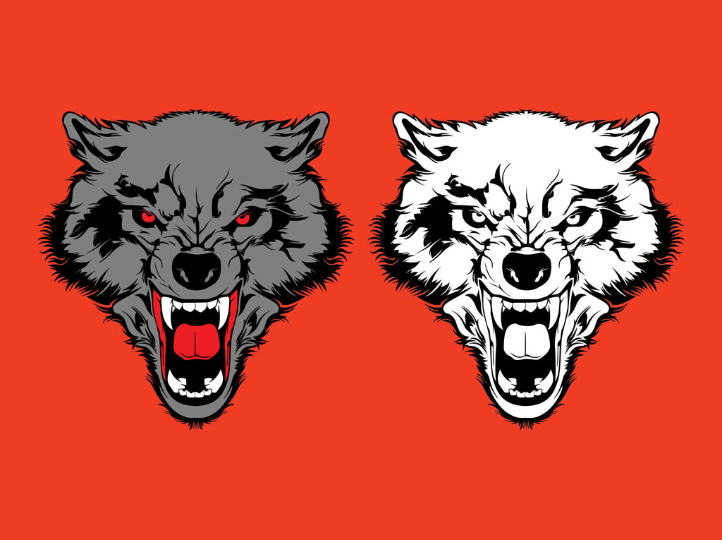 Angry Wolves Graphics Vector Art & Graphics.