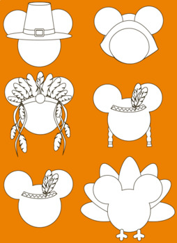 Thanksgiving clipart mouse head clipart +black white outline.