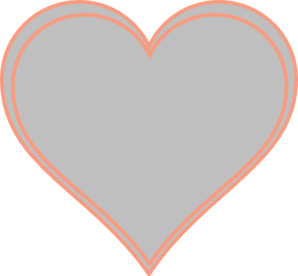 Double Outline Heart Peach With Grey Clip Art at Clker.com.