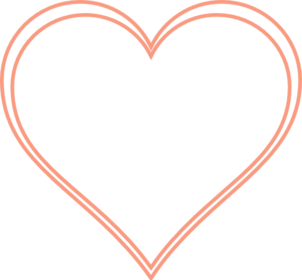 Double Outline Heart Peach Clip Art at Clker.com.