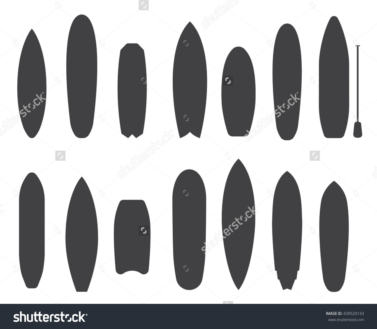 Outline Surfboard Collection Flat Design Vector Stock Vector.