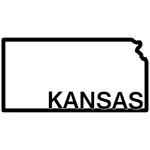 Kansas State Outline Decal Sticker. Available in 19 colors.