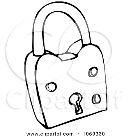 Clipart Outlined Padlock.