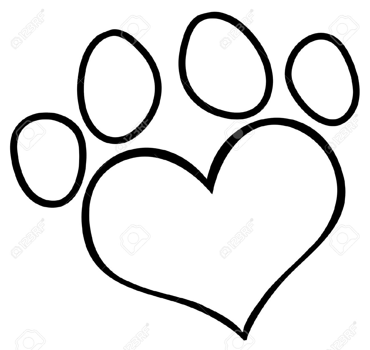 Paw print outline clipart.