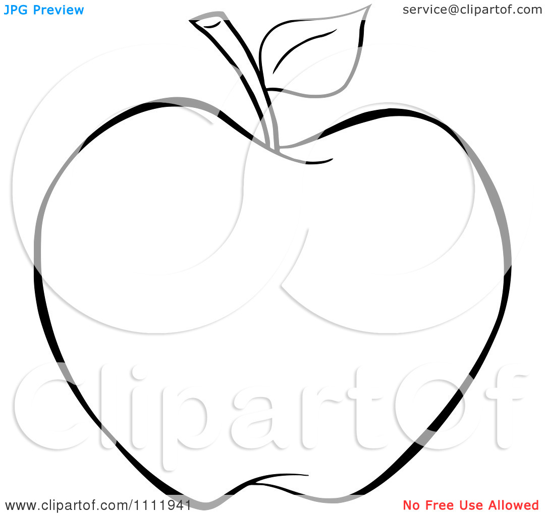 Apple Outline Clip Art Clipart Outlined Apple Royalty Free Vector.