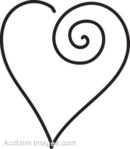 Cute heart outlines clipart.