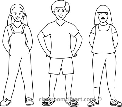 Sisters Outline Clipart.