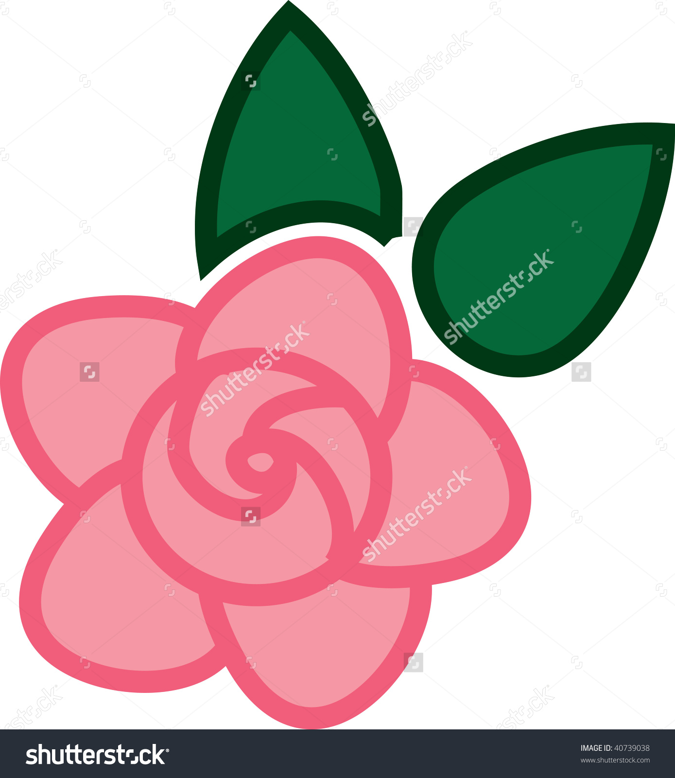 Clip Art Illustration Pink Rose Color Stock Illustration 40739038.