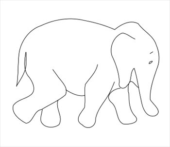 Elephant Outline Clipart.