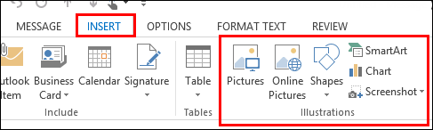 Add graphics to messages in Outlook.