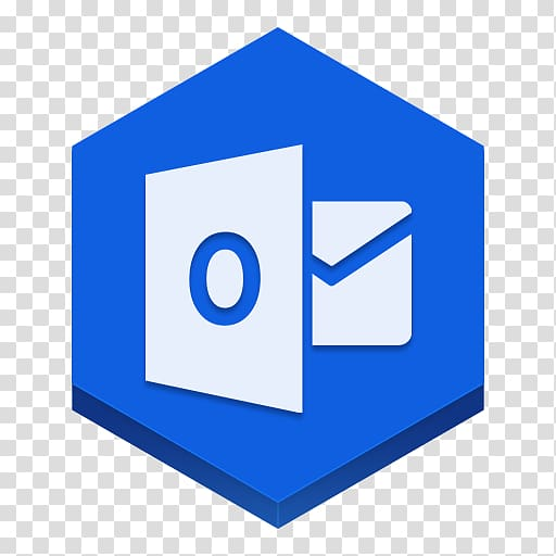 White email logo, blue square angle area, Outlook.