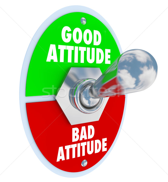 Good Vs Bad Attitude Toggle Switch Choose Positive Outlook stock.