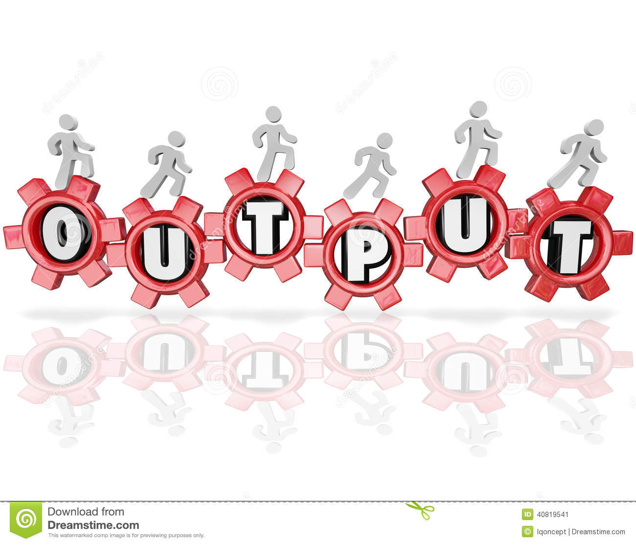 Output Word Gears People Working Productivity Results Stock.
