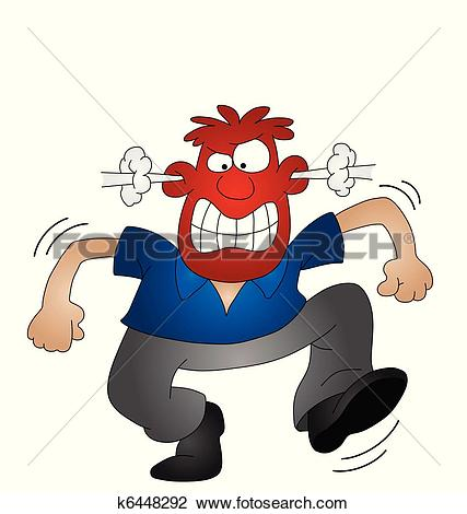 Stock Illustration of Anger Thermometer Indicates Cross Irritated.