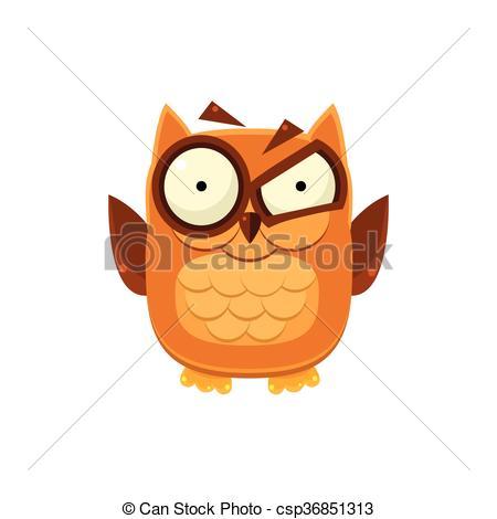 Vector Clip Art of Outraged Brown Owl Adorable Emoji Flat Vector.