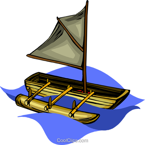 canoe with sail and outrigger Royalty Free Vector Clip Art.