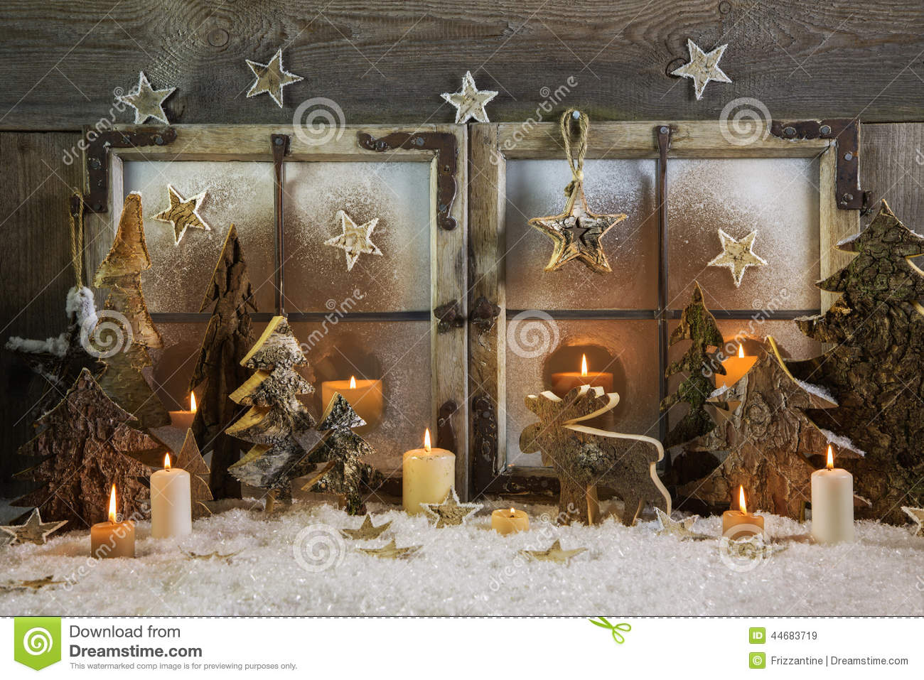 Natural Handmade Christmas Decoration Of Wood Outdoor In The Win.