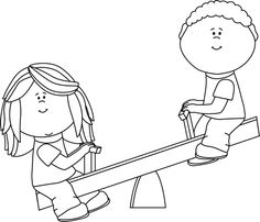 Black And White Kids Playing Clipart.