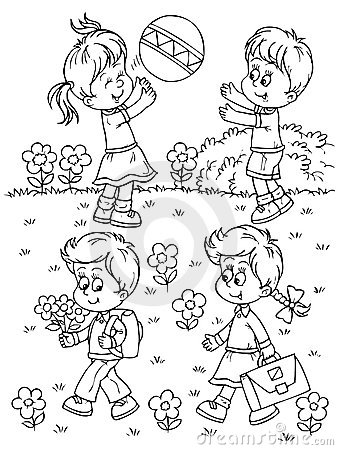 Black And White Clipart Of Kids Playing.