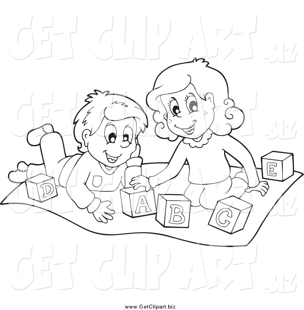 Black And White Clipart Kids Playing.