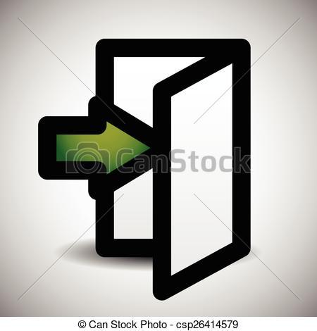 Vectors Illustration of Simple Inside Or Outside Door Symbol, Sign.