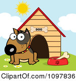 Clipart dog outside of door.