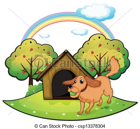 Vector Clip Art of A puppy outside the doghouse.