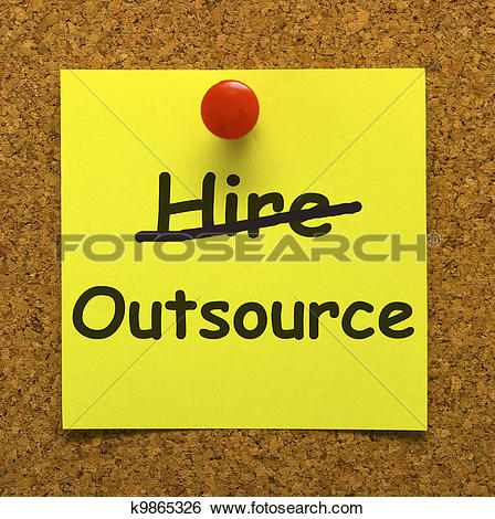 Stock Illustration of Outsource Note Showing Subcontracting.