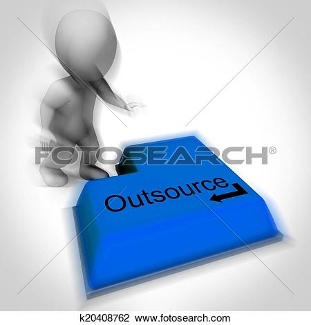 Clip Art of Outsource Keyboard Shows Subcontracting And Hiring.
