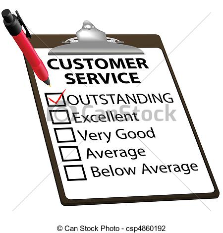 Vector Illustration of Outstanding CUSTOMER SERVICE evaluation.