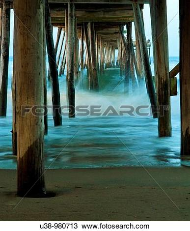 Stock Photo of Waves under the Avalon Pier, Outer Banks, North.