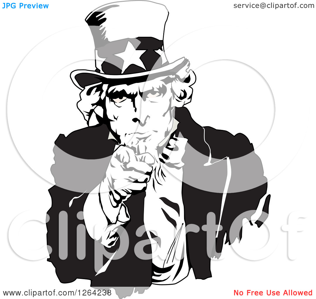 Clipart of a Black and White Uncle Sam Pointing Outwards.