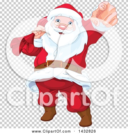 Clipart of a Christmas Santa Claus Pointing Outwards.