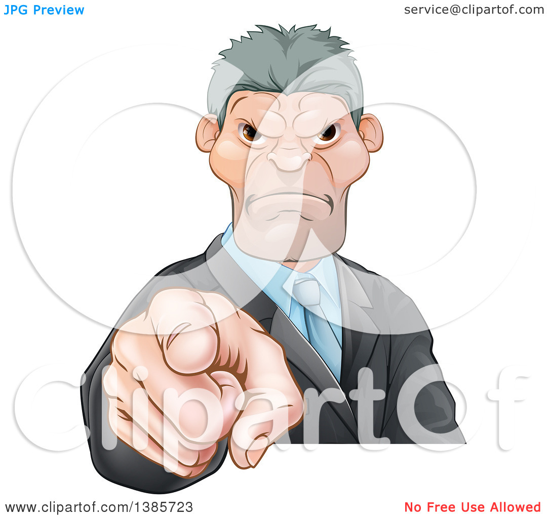 Clipart of a Tough and Angry Caucasian Business Man Pointing.