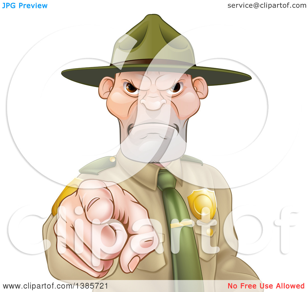Clipart of a Tough and Angry White Male Forest Ranger Pointing.