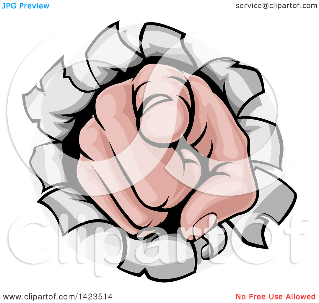 Clipart of a Cartoon Caucasian Hand Pointing Outwards, Breaking.