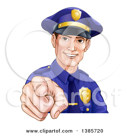 Clipart of a Happy White Male Police Officer Pointing Outwards.