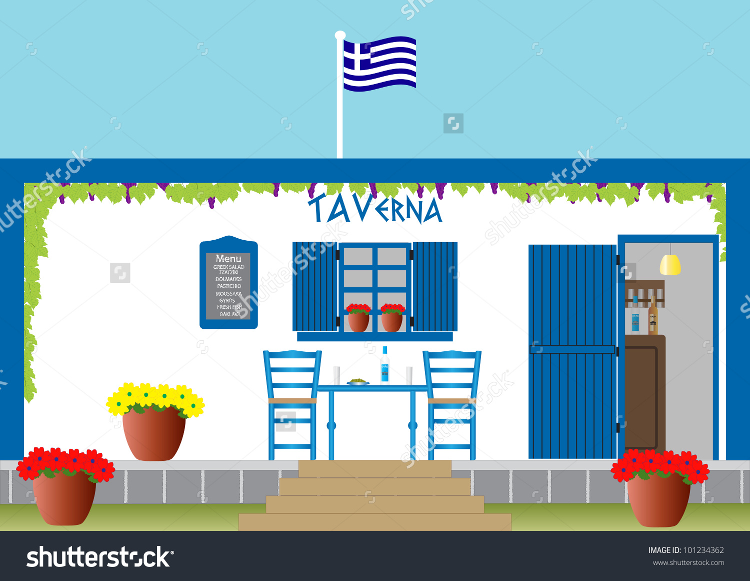 Traditional Greek Taverna Drinks Ouzo Olives Stock Vector.
