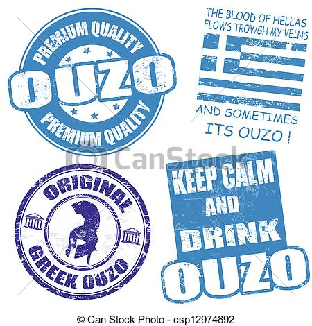EPS Vectors of Set of ouzo stamps.