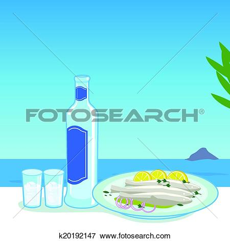 Clip Art of Ouzo and fish k20192147.