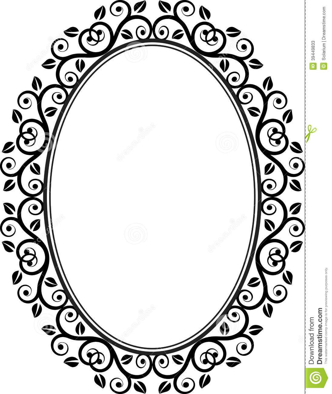 Floral oval frame.