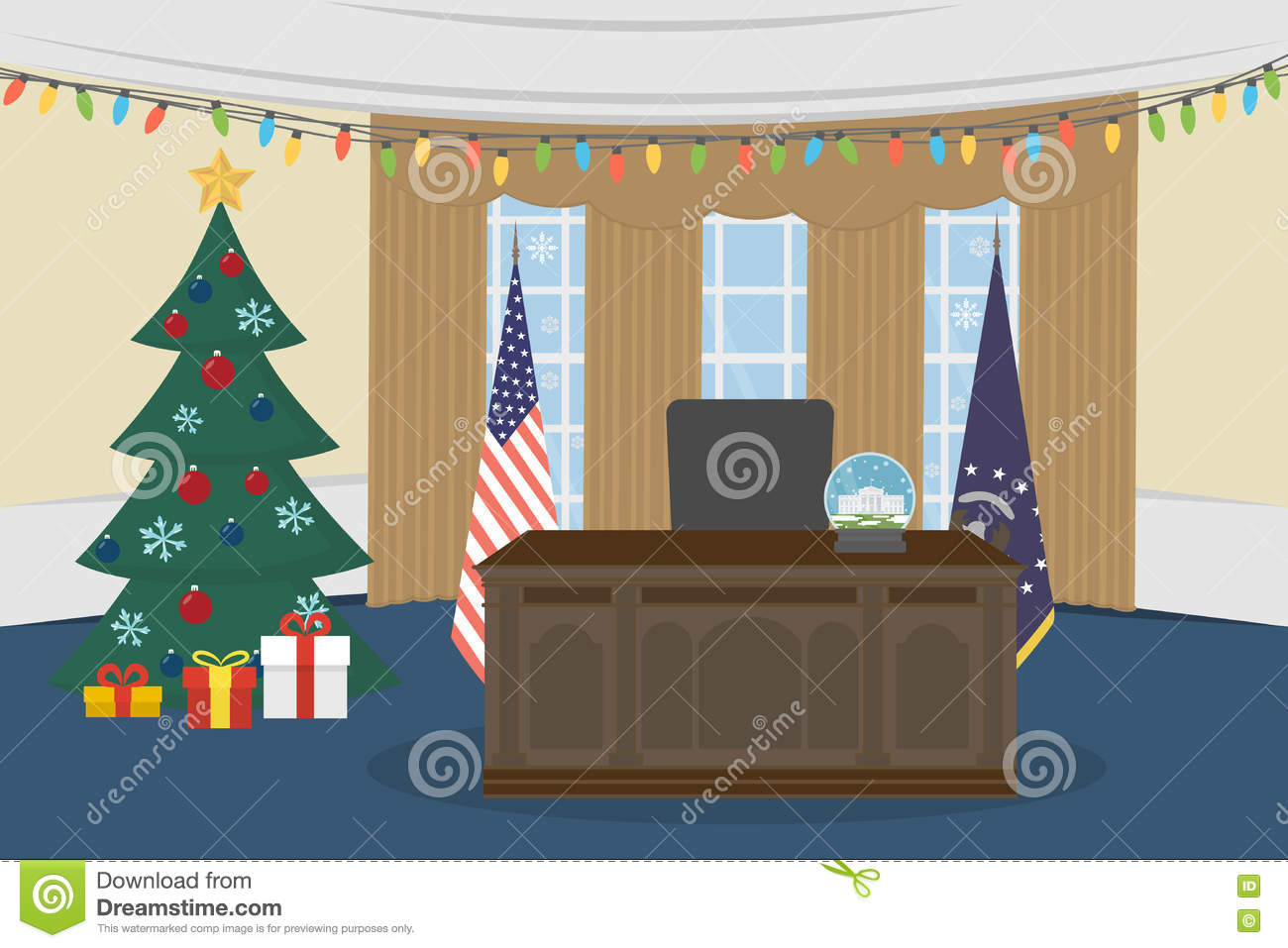 Empty Oval Office. Stock Vector.