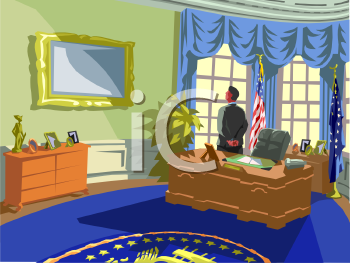 Clipart Picture of an American President In the Oval Office.